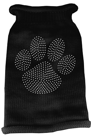 Clear Rhinestone Paw Knit Pet Sweater LG Black